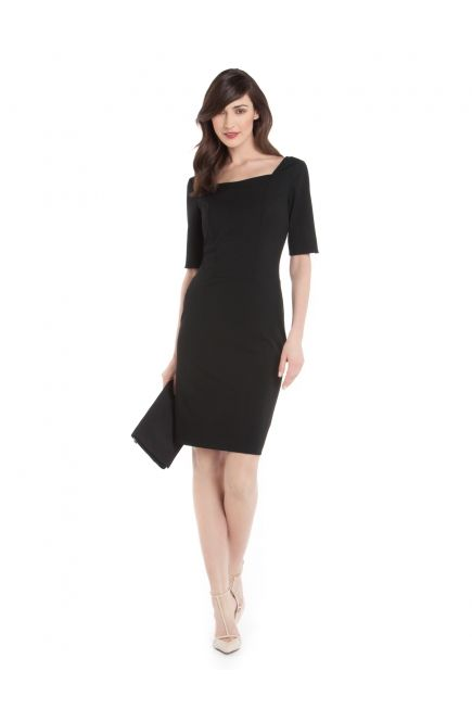 Robe Structurée à Manches 3/4 - 3/4 Structured Sleeve Dress