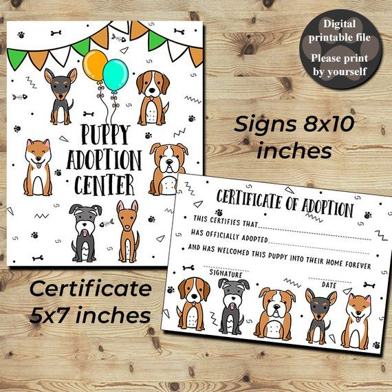 Puppy Adoption Certificate Certificate Of Adoption Adopt A Etsy Pet Adoption Party Puppy Adoption Pet Adoption Certificate