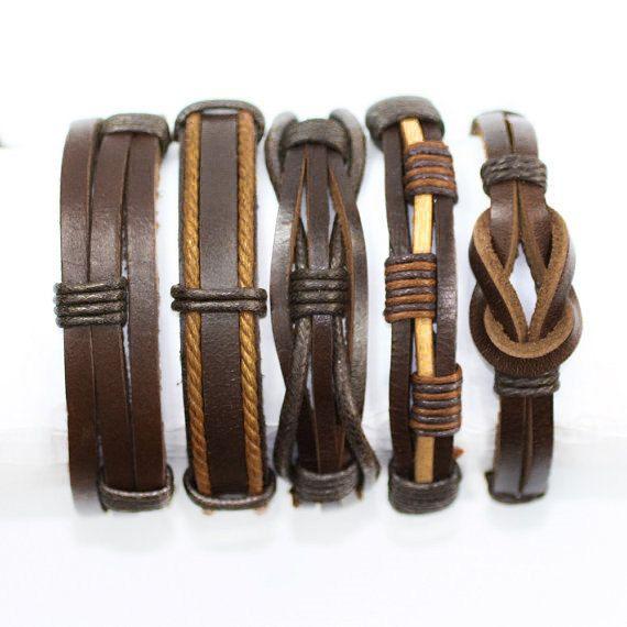 5 Piece Handmade Leather Bracelet Set Mens by BraceletStreetUSA