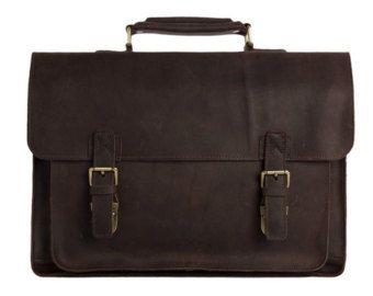 Retrò Design Laptop Bag in pelle marrone scuro di ammaciyo su Etsy