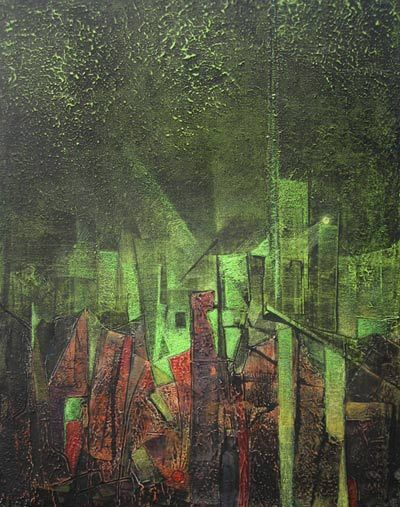 "The City Under Construction,[30""X40""], mixed media on canvas, 2008"