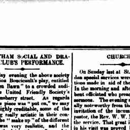 Review of performance of Colleeen Bawn. Mr. J. B. Stanway as Father Tom mentioned as a prominent performer. North Melbourne Advertiser, 24 Apr 1886, p. 3, 'The Hotham Social and Dramatic Club's performance'.