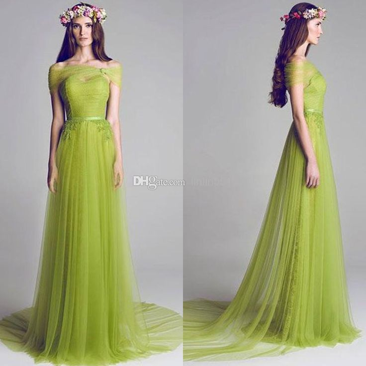 Wholesale 2013 - Buy 2014 Fresh Olive Soft Tulle With Shawl Bridesmaid Dresses Brides Maid Dress Prom Dresses Backless Evening Gowns Custom Made Elegant Weddings, $98.7 | DHgate