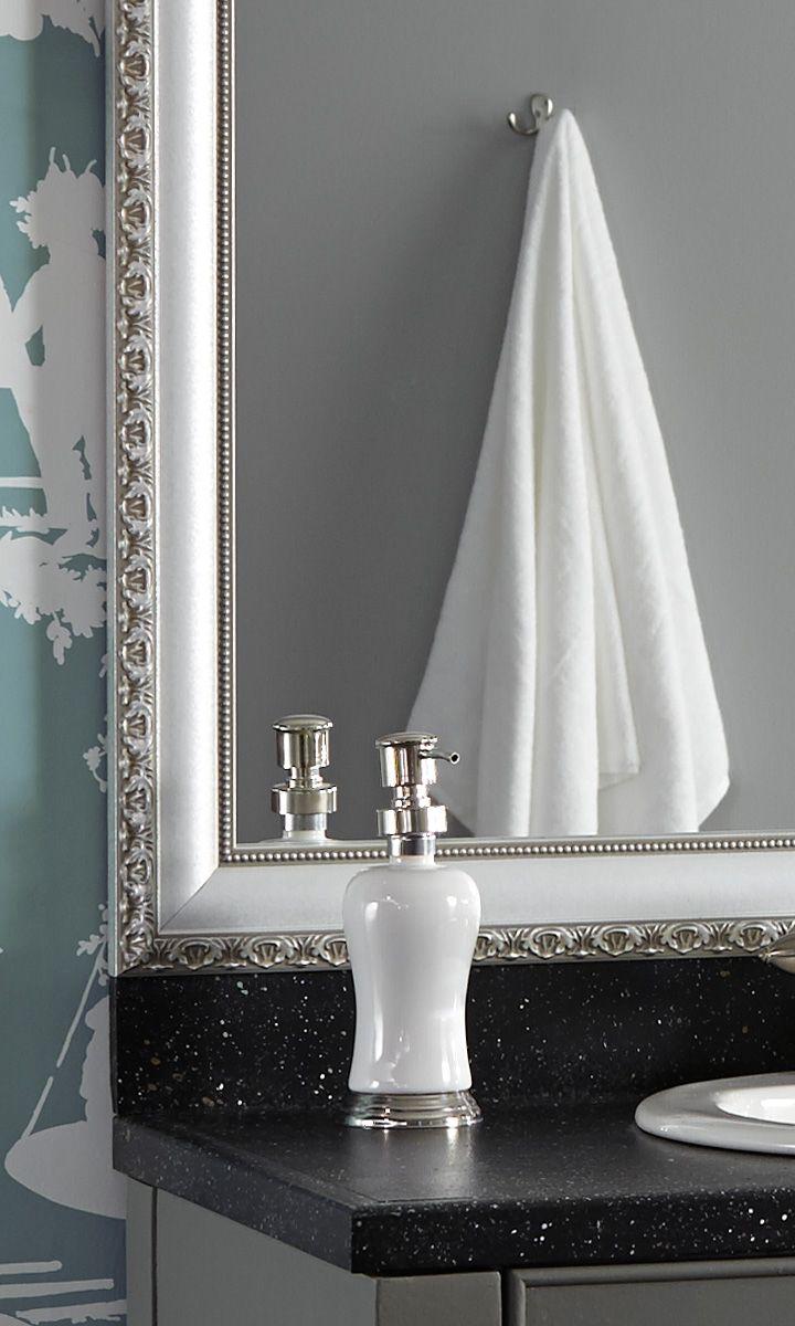 bathroom makeover in minutes frame a builder 39 s grade bathroom mirror