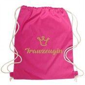 Pinkfarbener JGA-Rucksack mit goldfarbenem Trauzeugin-Schriftzug