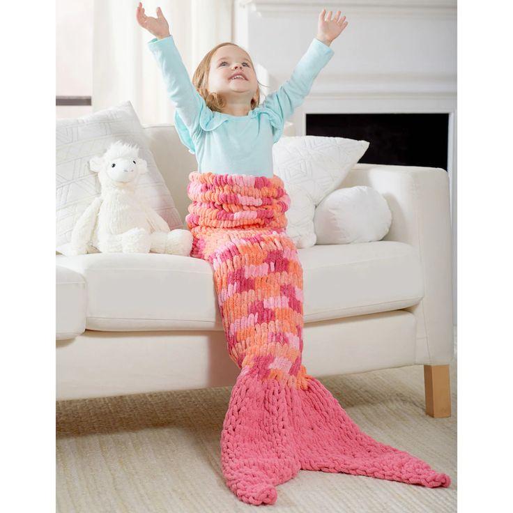 Red Heart 174 Loop It Loopy Mermaid Tail Blanket Mermaid
