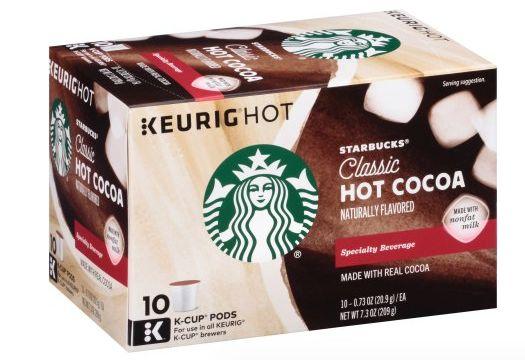 Starbucks Coupon: Score $1 Starbucks Hot Chocolate K-Cups Score $1 off any one Starbucks Hot Chocolate K-cups with our Starbucks coupon. This is the perfec