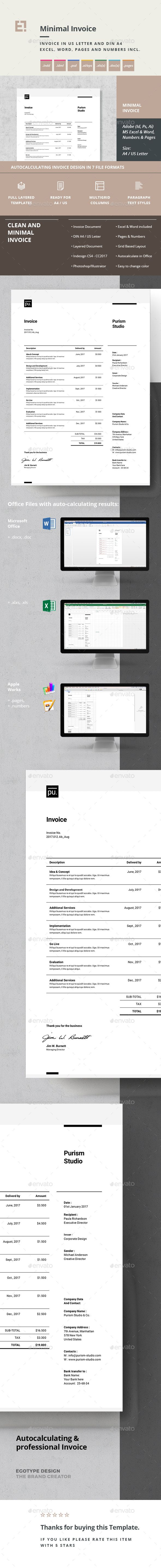Invoice Template PSD, Vector EPS, InDesign INDD, AI Illustrator, MS Word - A4 and US Letter Size