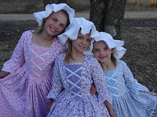 Handmade American Historical Colonial Pioneer Girl Clothing - Blue Day Dress- Child Size on Etsy, $79.99