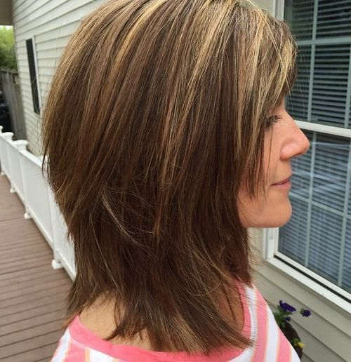 medium shaggy haircut for thick hair