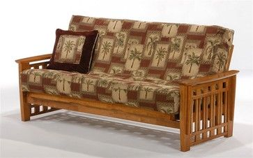 Futon Frame in Cherry Finish for Overnight Guests - Wide Slatted Arms (Loveseat - craftsman - Futons - ShopLadder