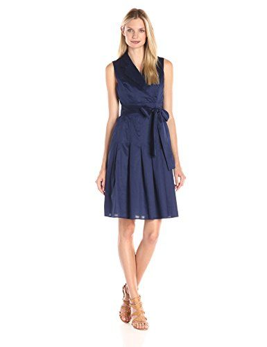 New Trending Formal Dresses: Tommy Hilfiger Womens Cotton Wrap Dress, Navy, 12. Tommy Hilfiger Women's Cotton Wrap Dress, Navy, 12  Special Offer: $83.88  100 Reviews Tommy Hilfiger dress sleeveless cotton dorris dressSleeveless wrap dress featuring trench-inspired lapel and bow at waistPleated skirt with pocketsModern fit