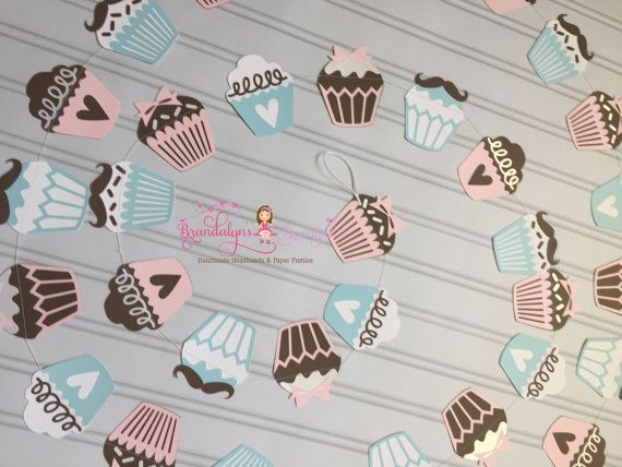 Cupcake or Stud Muffin Paper Garland Gender by BrandalynsBowtique