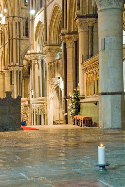 A candle marks the original location of Beckett's Shrine (Canterbury Cathedral photo)