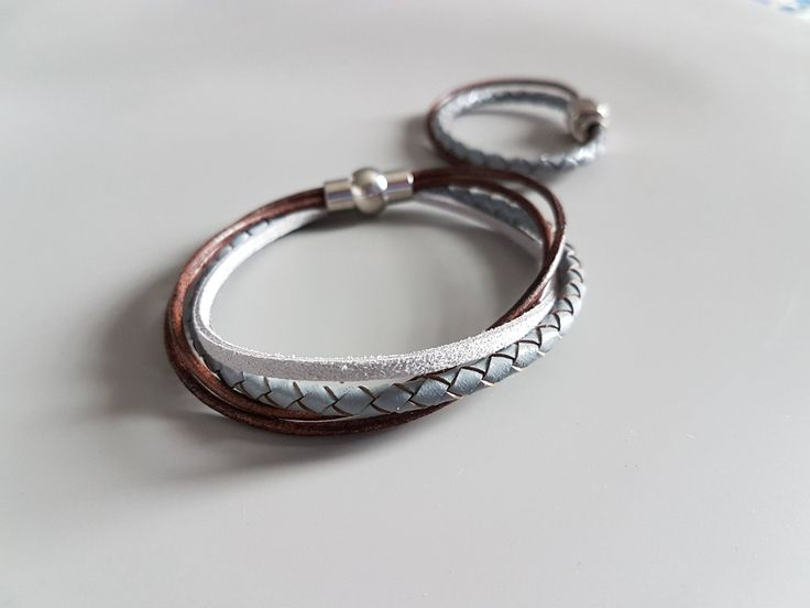 Mommy & Me Matching Bracelets - Dad Son Leather Bracelets - Back to School Gift - Grey Brown Leather Bracelets - Family Bracelet Set