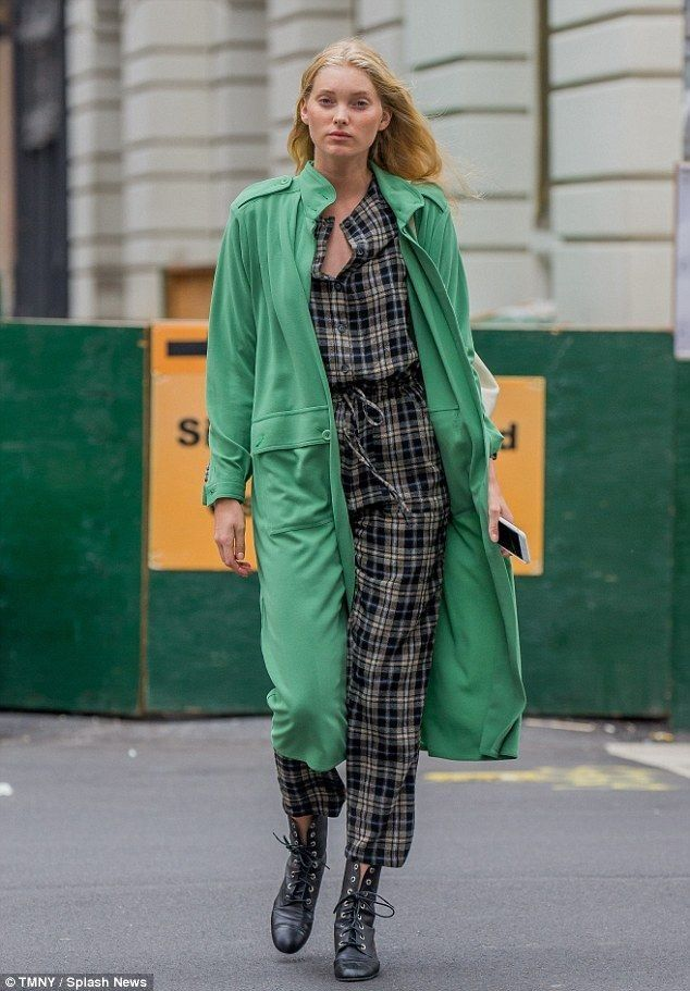Elsa Hosk brightens the rainy day in a green trench coat in NYC - Celebrity Fashion Trends