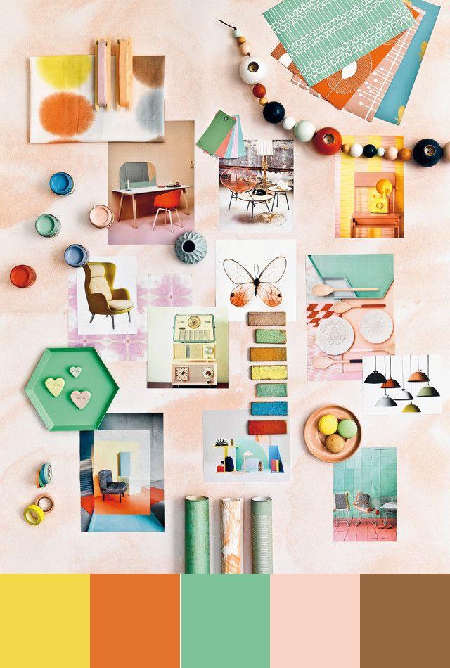 #Colortrends 2014! #sweet fifties #yellow #orange #green #pink #brown #palette - credits 101woonideeën oktober 2013