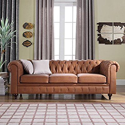 Charming Amazon.com: Classic Scroll Arm Real Leather Chesterfield Sofa (Light Brown):
