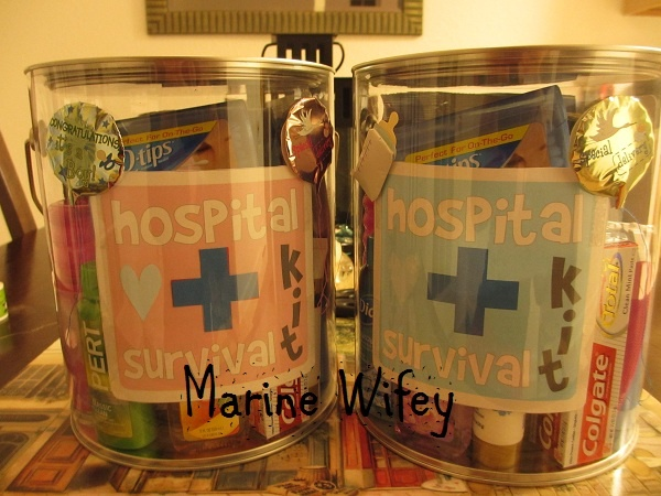 1st time mommy Hospital survival Kit...I am sure I will need this for someone. Want to give a daddy kit too!