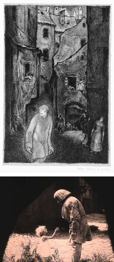 Ilustraciones de HUGO STEINER-PRAG para Der Golem de GUSTAV MEYRINK que son inspiración para Nosferatu de Murnau. Abajo escena de la película El Golem.