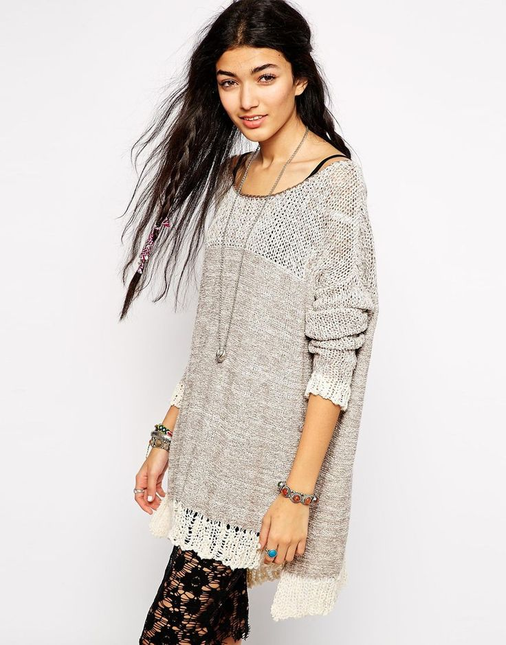Free People Loose Knit Sweater with Ladder Detail