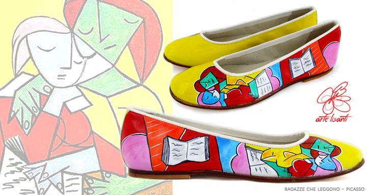 Scarpe dipinte- Accessori dipinti a mano: linee energiche e d'impatto per uno stile grintoso e spensierato per un outfit effetto cubista!