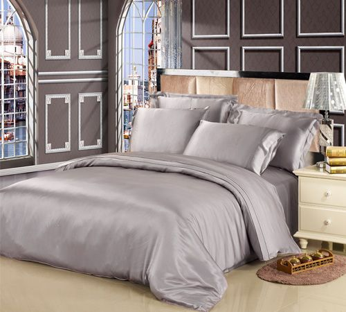 Gentil Silvergray Color Seamless Mulberry Silk Bed Sheets In Silvergray Color  Online. This 100 Soft Silk