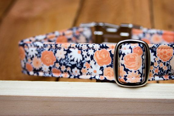 Female Dog Collar in Coral & Navy Blue Floral with by ZaleyDesigns, $25.00