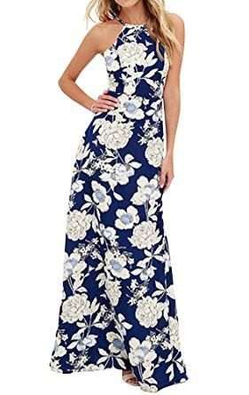 Blue Halter Backless Floral Print Maxi Dress