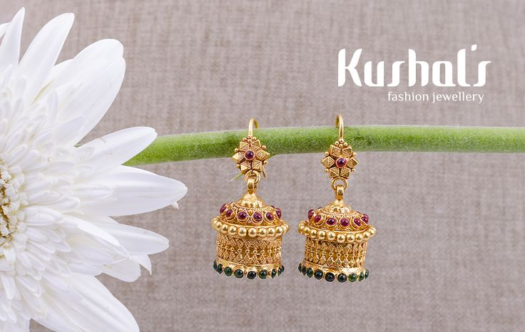 #Silver #TempleJewellery from #Kushals #FashionJewellery #Earrings Design No 50057