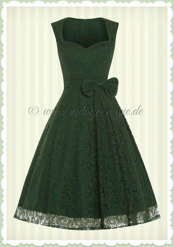 Lindy Bop 40er Jahre Vintage Retro Spitzen Kleid - Grace - Oliv Grün