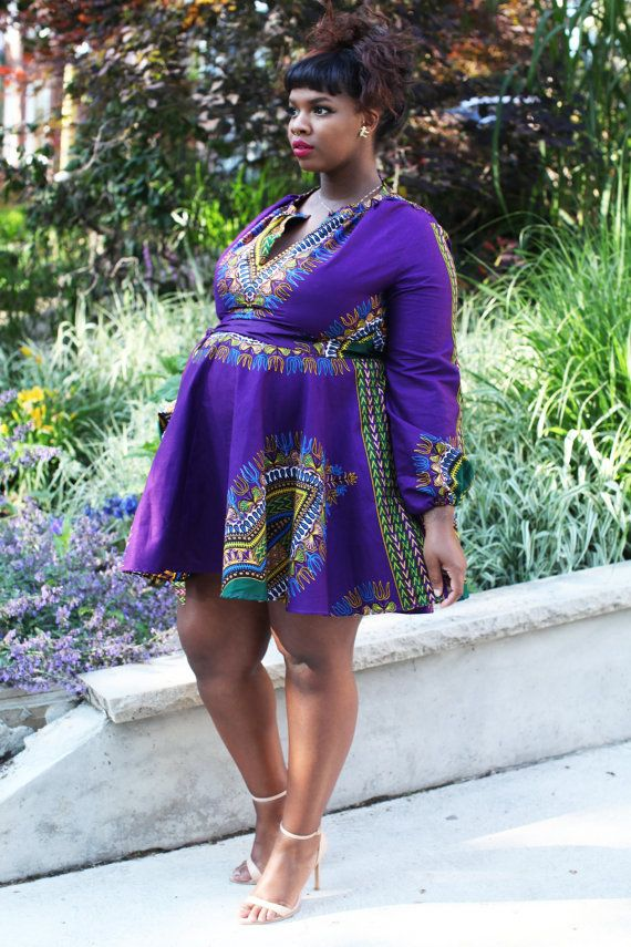 The Zhara Dashiki Dress In Indigo Purple By Asikereafana On Etsy Fashionista Pinterest Dresses And