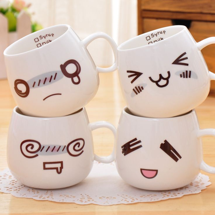 white cute creative cartoon expression design mugs - Coffee Mug Design Ideas