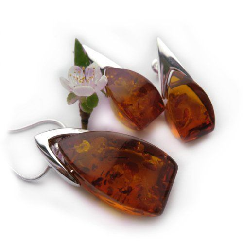 """High Quality Amber and Sterling Silver Drop Set, 18"""" Ian and Valeri Co.. $300.00. Save 25% Off!"""