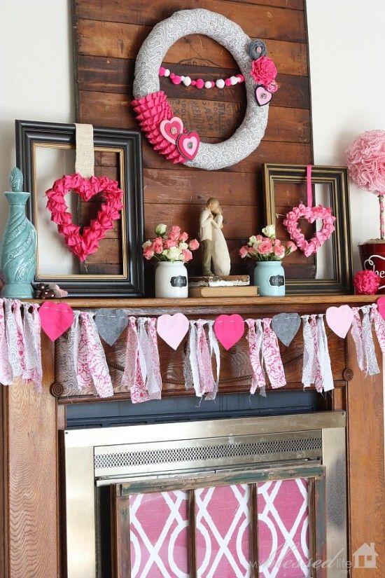 Pretty Valentine's Day Mantel | MyBlessedLife.net