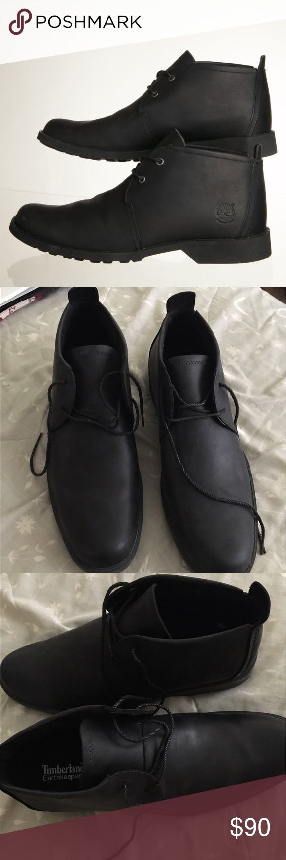 Men's timberland black boots BRAND NEW leather rubber sole very comfortable Timberland Shoes Boots