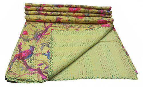 Bird Print King Size Kantha Quilt Olive Green , Kantha Blanket, Bed Cover, King Kantha bedspread, Bohemian Bedding Kantha Size 90 Inch x 108 Inch