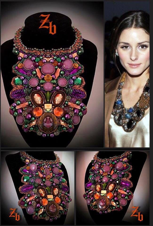 Maxi necklace...purple&green&crystals z'ett bijou statement necklace