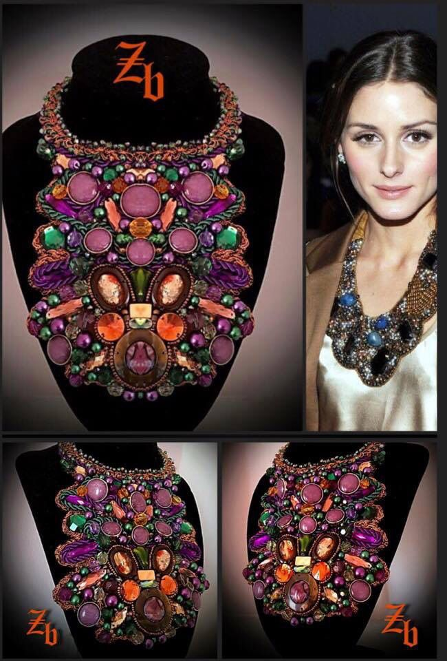 Maxi necklace...purple&green&crystals z'ett bijou statement necklace