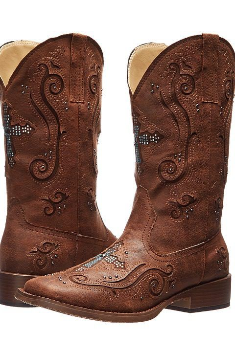 Roper Crystal Cross Square Toe Boot (Brown) Cowboy Boots - Roper, Crystal Cross Square Toe Boot, 09-021-1901-0937BR, Footwear Boot Western, Western, Boot, Footwear, Shoes, Gift, - Street Fashion And Style Ideas