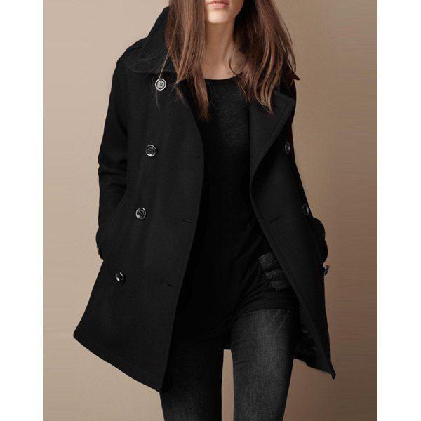 Chic Turn-Down Neck Long Sleeve Pocket Design Women's Peacoat