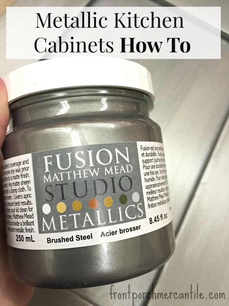 Want to learn how take a boring kitchen cabinet and turn it into an awesome metallic kitchen cabinet with just a little paint? Check out our how to