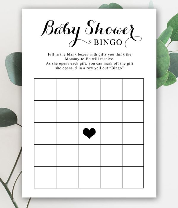 Free Baby Shower Game Bingo Black And White Instant Download Printable Printable Market Free Baby Shower Games Baby Shower Bingo Free Baby Shower Gift Bags