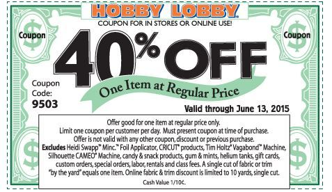 Hobby Lobby Printable Coupon! Simply show in stores for 40% off! #HobbyLobby #coupons #frugal #crafts #crafting