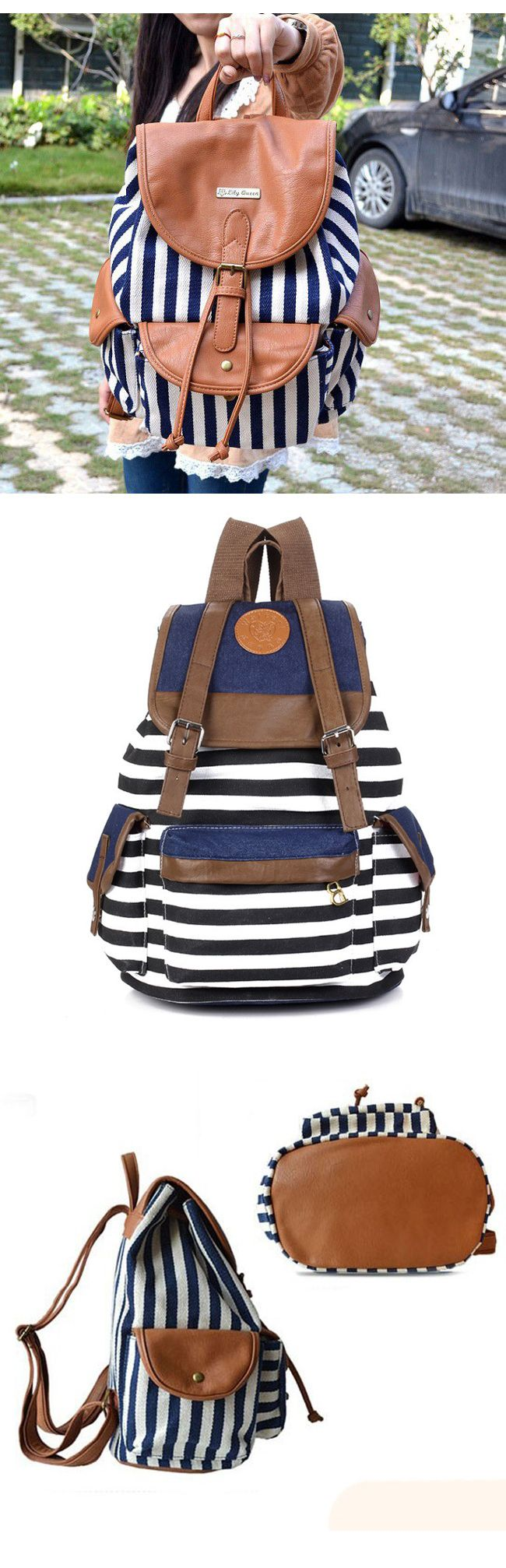 2017 Cute Style Stripe Splicing Leather Backpack for Girls,backpacks for girls, pink backpack, mini backpack, cool backpacks, backpacks for women, travel backpack