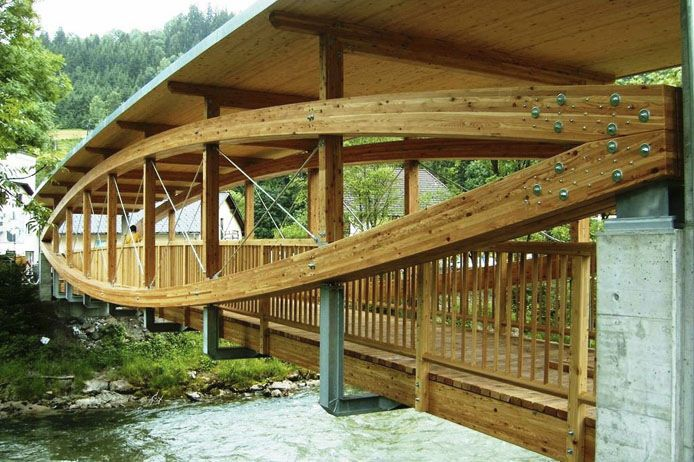 Pedestrian bridge in wood glulam schladming hasslacher for Timber frame bridge