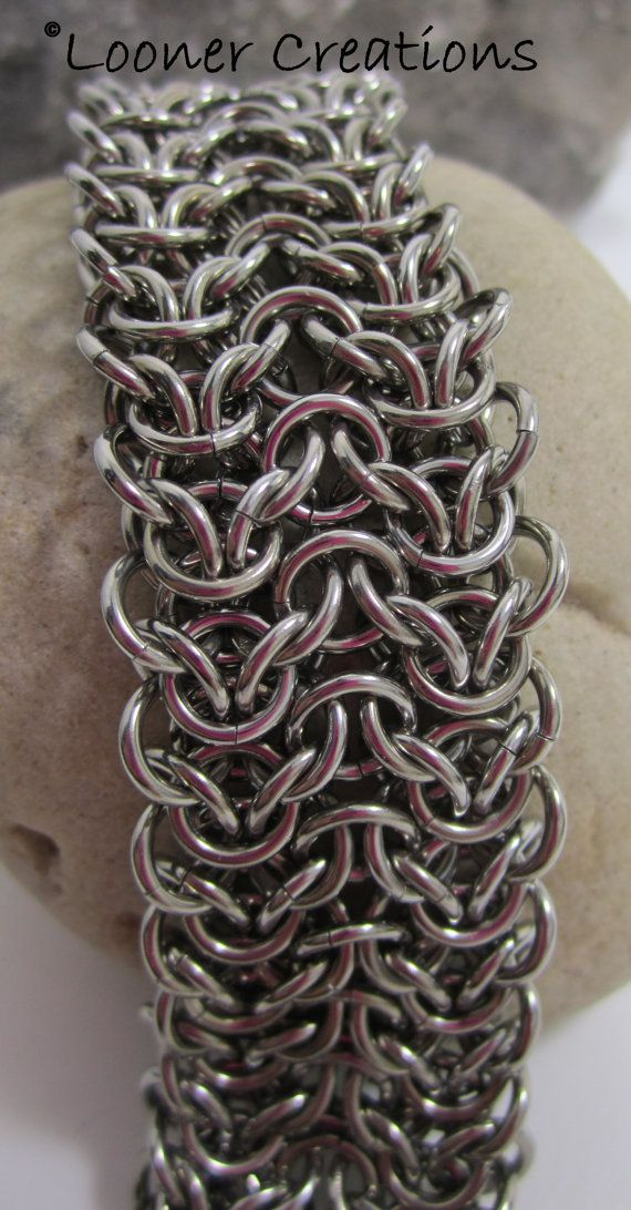 Stainless steel Elf Weave bracelet by loonercreations on Etsy