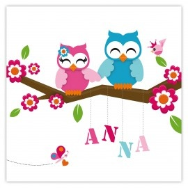 Owl: Little sweet baby sister... Birth announcement