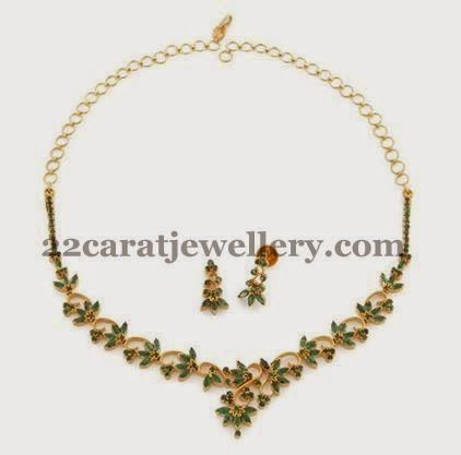 Jewellery designs very light weight emerald set for Simple gold ornaments