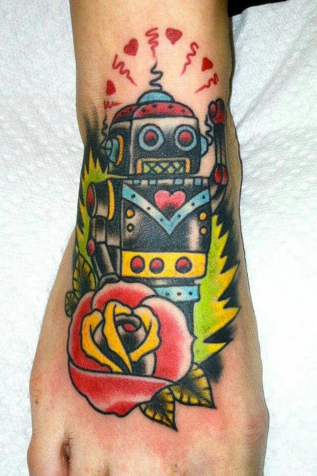 Mikey Sarratt Neo traditional Robot Tattoo